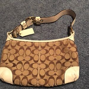 Coach brown and white hobo purse